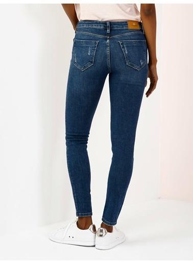Colin's 759 Lara Orta Bel Dar Paça Super Slim Fit Mavi Kadın Jean Pantolon Lacivert
